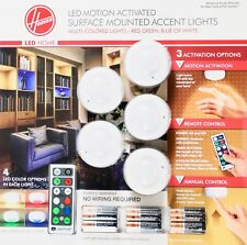 Hoover LED Puck Lights Multi-Color Motion Activated with Remote & Batteries