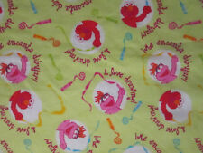 SESAME STREET I LOVE DRAWING PINK GREEN FLANNEL FABRIC OOP FQ