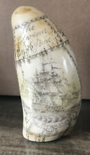 "Vintage Faux Scrimshaw Carving Sailing Ship ""The Brunswick"" & Admiral Howe ~ 6"""
