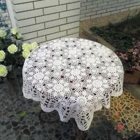 "White Vintage Hand Crochet Cotton Tablecloth Doily Square Lace Table Cloth 43"""