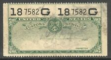 us revenue customs service stamp - green - #2