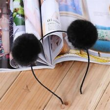 Fashion Women Party Rabbit Cute Headband Hairband Fluffy Fur Ball Double