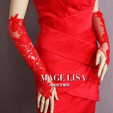 New arrival Red Rose Lace Opera Medium Fingerless Bridal Wedding Prom Gloves