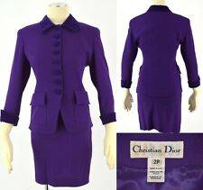 CHRISTIAN DIOR Gorgeous Purple Wool Crepe Velvet Trimmed Blazer Skirt Suit ~ 2P
