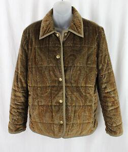 Etro Women's Brown Olive Green Paisley Print Velour Puffer Jacket Coat 44 10