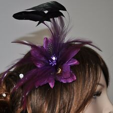 VIOLETT LILA Blume Blüte Federn Brosche Haarklammer Haarclip Ansteckblüte