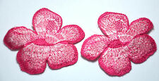 2X PINK WHITE FLOWER BLOSSOM  Embroidered Sew Iron On Cloth Patch Badge APPLIQUE