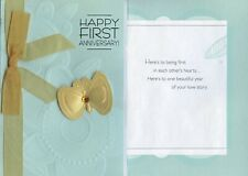 Hallmark 1st Anniversary Greeting Card From Friend/Family w/Ribbon & Gem Accents