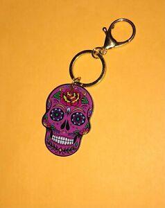 Sugar Skull Keychain (Acrylic; Pink)