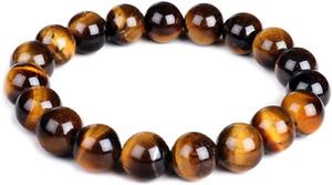 10mm Natural Tiger Eye Bracelet Elastic Yoga Gemstones Healing Energy Men Women
