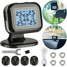 Wireless USB TPMS LCD Car Tire Pressure Monitoring System + 4 External Sensors