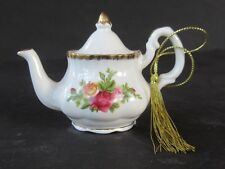 Royal Albert OLD COUNTRY ROSES Miniature TEAPOT Christmas Ornament ~ Excellent