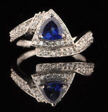 2.20 Carat Natural Blue Tanzanite EGL Certified Diamond Ring In 14KT White Gold