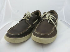 Sketchers Mens Size 10 Boat moc toe Shoe brown Lace Up  Relaxed Fit