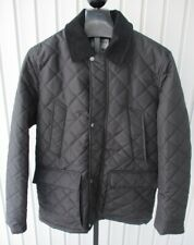 COLE HAAN Black Quilted Elbow Patch Corduroy Collar BARN JACKET L
