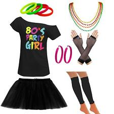 Womens Off Shoulder 80s Party Girl T Shirt Tutu Skirt Set Party Accessories 6830