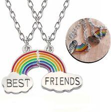 2 Best Friends Regenbogen Anhänger mit Kette Geschenk Schmuck Edelstahl LGBT