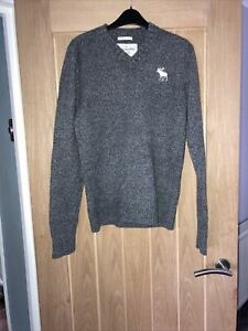 Abercrombie & fitch grey v-neck wool blend jumper muscle fit size L Ref 136