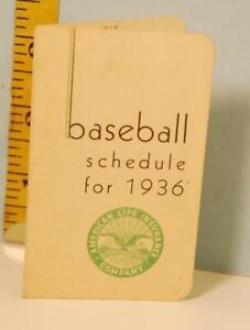 1936 Detroit Tigers Baseball Schedule American Life Insurance Company #CF