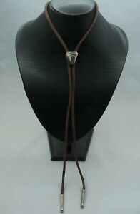 Polished Small Agate Stone Bolo Tie on Brown Cord