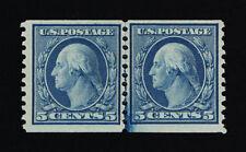 GENUINE SCOTT #496 F-VF MINT PRISTINE OG NH 1919 BLUE COIL LINE PAIR P-10 UNWMK