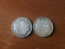 1953 CANADIAN 50 CENT COINS-PAIR OF 2-VERY NICE