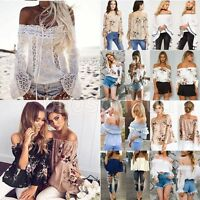 Womens Off The Shoulder Loose Chiffon Blouse Ladies Summer Casual T Shirt Tops