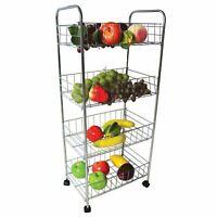 3 & 4 Tier Metal Kitchen Storage Trolley Vegetable Fruit Cart Drawer Rack Wheels