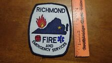RICHMOND FIRE AND EMERGENCY SERVICES FIRE FIGHTER  PATCH BX V#22