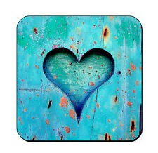 DRINK COASTERS - Wood 4 Teal Blue Heart Set of 4 glossy wood bar country rustic