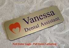 "Personalized Custom Full Color Employee Name Tag 3""x 1"" Silver rounded corners"