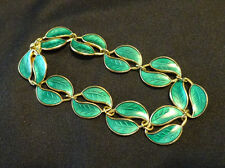 David Andersen Sterling Silver Modernist Green Enamel Leaf Bracelet