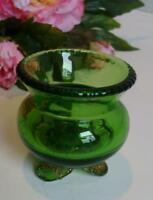 EAPG OLD Green Footed Toothpick Holder Pressed Glass American Pattern Free Ship