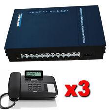 Kit Centralino telefonico analogico con 3/8 linee Disa 90 sec 3 telefoni Gigaset