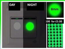 100 x Luminescent Green Glow in the Dark Vinyl Light Switch Round Stickers