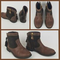 GIOSEPPO Leather girls brown boots Uk 12.5 zip up Tassels winter kids shoes