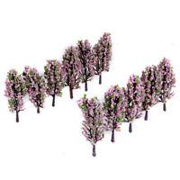 20pcs Scenery Landscape Train Model Trees Pink Green Flowers Scale 1/200 Z