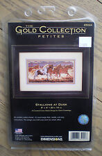 """Dimensions Gold Petites """"Stallions At Dusk"""" Counted Cross Stitch Kit"""