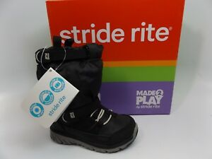 Made 2 Play -Stride Rite Sneaker Boots BLACK TODDLER, Sz 4 WIDE. NEW DISPLAY 972