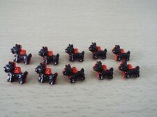 10 X Lindo negro con lazos rojos escocés Perro en forma de botones de vástago Novedad Bebé G1