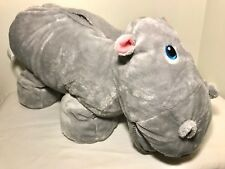Stuffies Gracie THE HIPPO Gray Plush Toy Hidden Pockets Large Stuffed PJ Bag