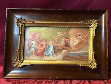 Vintage Antique 5x8 Framed Mythical Scene Picture Baby Angel Horses Clouds