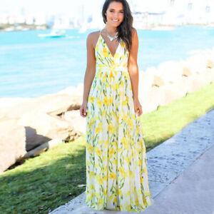 Women Sexy Floral Maxi Boho Long Sundress Beach Dress Cover Skirt Cocktail Party