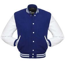 Nice Quality Varsity Jacket (Blue&White) Wool body & Genuine Leather Sleeves.