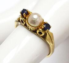Top Damenring Damen Ring 14 Karat 585 Gold 3,2 g Gelbgold Perle 2 Saphire Gr. 53