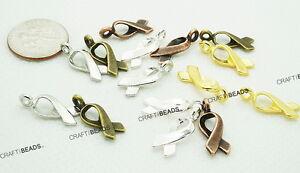 17mm Mini Breast Cancer Awareness Ribbon Charm Silver Gold Bronze Copper Platina