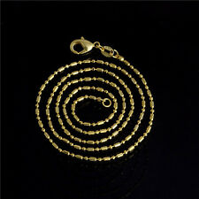 Gold over .Silver Super Thin .6mm Italian Curb Chain Necklace SIZES Charm Lady
