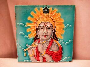 "Antique Tile Majolica Art Nouveau Japan Depicting Lord Krishna Fluting Rare ""702"
