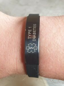 Diabetes Silikon Armband Typ 1 schwarz NEU