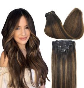 GOO GOO Seamless Hair Extensions Clip in Human Hair 16 Inch Balayage Dark Brown
